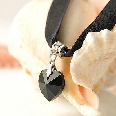 Hot Black Velvet Choker Crystal Heart Pendant Gothic Handmade Necklace