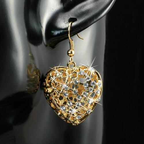 Ohrringe Herz Zirkonia weiss 750er Gold 18 Karat vergoldet gelbgold O1161S