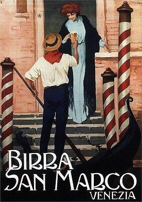 Birra San Marco - Italy, Italian vintage old repro beer drink poster