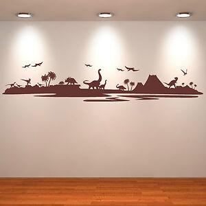 DINOSAUR-LANDSCAPE-Assorted-dinosaurs-VINYL-WALL-ART-STICKER-DECAL