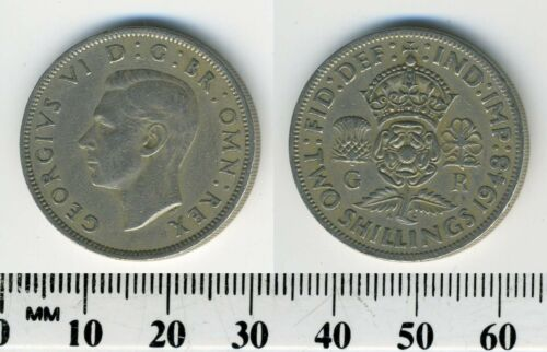 Copper-Nickel Coin Great Britain 1948-1 Florin King George VI 2 Shillings