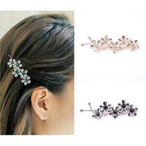 450fdb0ee5e6b Image is loading 2X-Women-Girls-Rhinestone-Headwear-Hair-Clips-Floral-