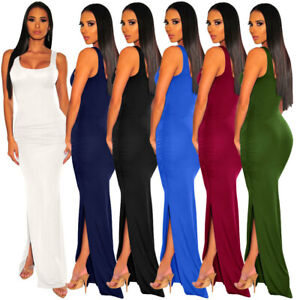 Women-Low-Cut-Sleeveless-Solid-Color-Bodycon-Cocktail-Party-High-Side-Slit-Dress