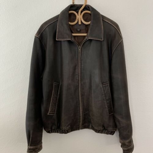 Coach Distressed Buttery Leather Jacket M Brown Ca