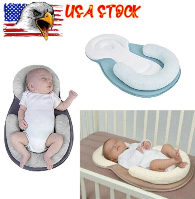 FAMKIT Baby Pillow Anti Roll Cotton Infant Sleep Prevent Flat Head Cushion for Newborn Pink