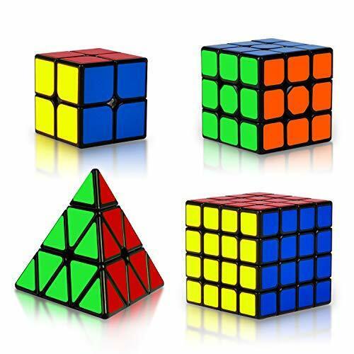 4 Pack Speed Magic Cube Set 2x2 3x3 4x4 Pyraminx Rubix Cube Set