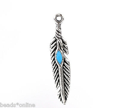 50PCs Peafowl's Feather Charms Pendants Findings 5*28mm
