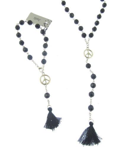 Largo Negro Bolas y símbolo de paz Collar y Pulsera conjunto con borlas