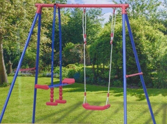 Kinder Garten Schaukel Set mit Gestell aus Metall Gartenschaukel Kinderschaukel