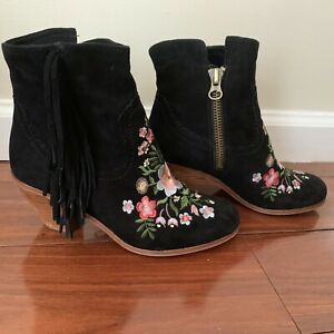 c0b121bde81c Image is loading Sam-Edelman-Embroidered-Suede-Ankle-Boots-with-Tassel-