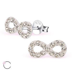 Plata-esterlina-925-Rosa-Palido-Brillante-Cristal-Aretes-simbolo-de-infinito