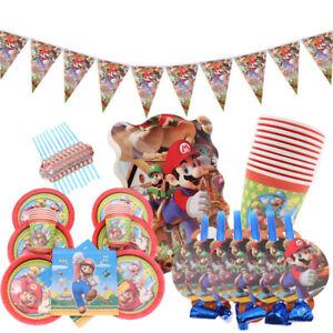 Super-Mario-Luigi-Jeu-Fete-D-039-anniversaire-Fournitures-Vaisselle-Assiettes-Tasses-Decoration