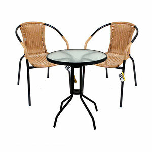 Image Is Loading 3 Piece Bistro Set Garden Patio Tan Wicker