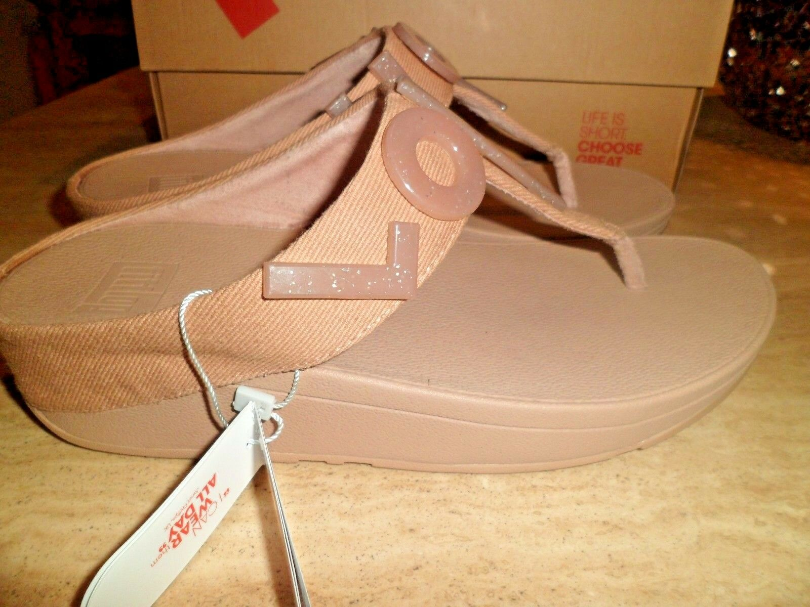 BNWT FitFlop Love & Hope Nude Sandales UK 6 EU 39
