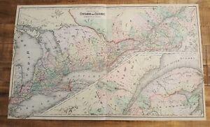 Provinzen Von Ontario & Quebec Willensstark Antik Gefärbten Map The National Atlas 1893 Dauerhafter Service