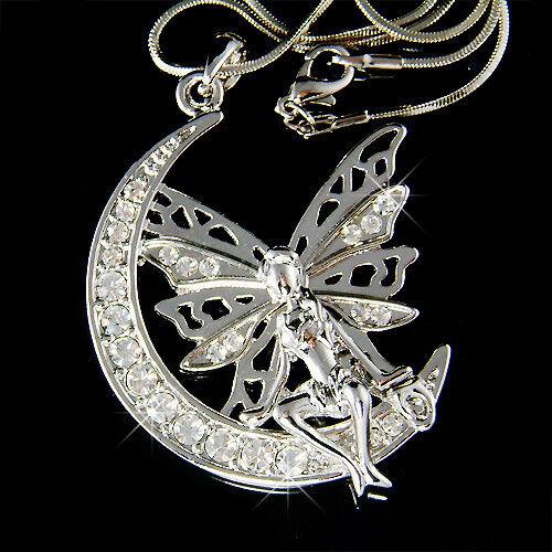 Grosse Fée avec Cristal SwarovskiFée Clochette Ange Aile Lune Collier Pendentif
