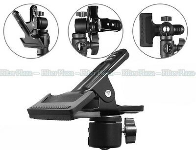 Hot Shoe Spring Clamp Clip & Ball Head For Photo Studio Camera Flash Light Stand