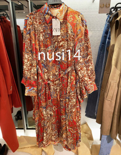 Details about  /ZARA NEW WOMEN MIDI PAISLEY PRINTED SHIRT DRESS BELT ECRU RED XS-XL 8182//314