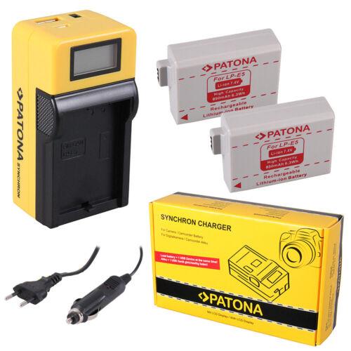 2x Batteria Patona caricabatteria Synchron LCD USB per Canon EOS 1000D