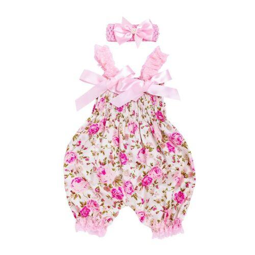 Newborn Infant Baby Girls Floral Romper Bodysuit Jumpsuit+Headband Set Clothes