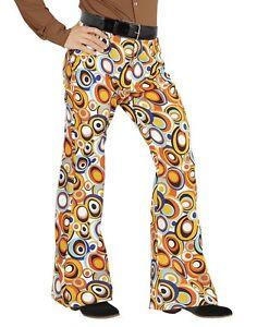 60/'s Anni 70 Retrò DISCOTECA Flare Pantaloni OLD SCHOOL Men/'s Fancy Dress S-XL