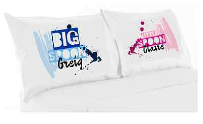 Personalised Big spoon little spoon print pillowcase set couple Christmas gift