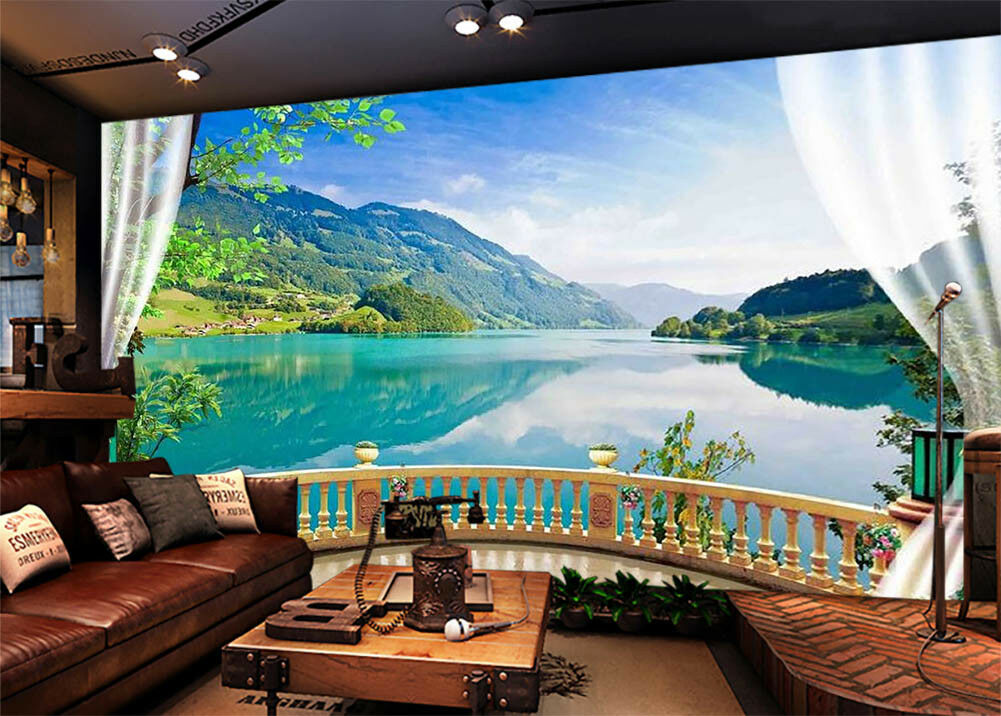Quiet Lakes Mountains 3D Full Wall Mural Photo Wallpaper Print Home Kids Decor