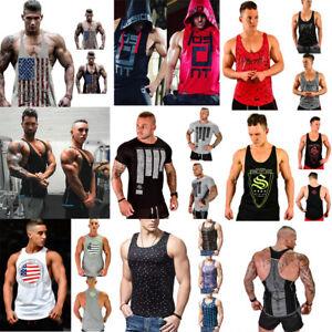 Mens-Muscle-Bodybuilding-Sleeveless-Shirt-Tank-Top-Gym-Blouse-Fitness-Sport-Vest