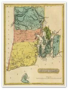 Details about LARGE Elegant USA Map of RHODE ISLAND circa 1822 Atlas Chart  18\