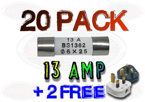 20 2 FREE x 13A 13 AMP DOMESTIC HOUSEHOLD FUSE MAINS PLUG CARTRIDGE FUSE