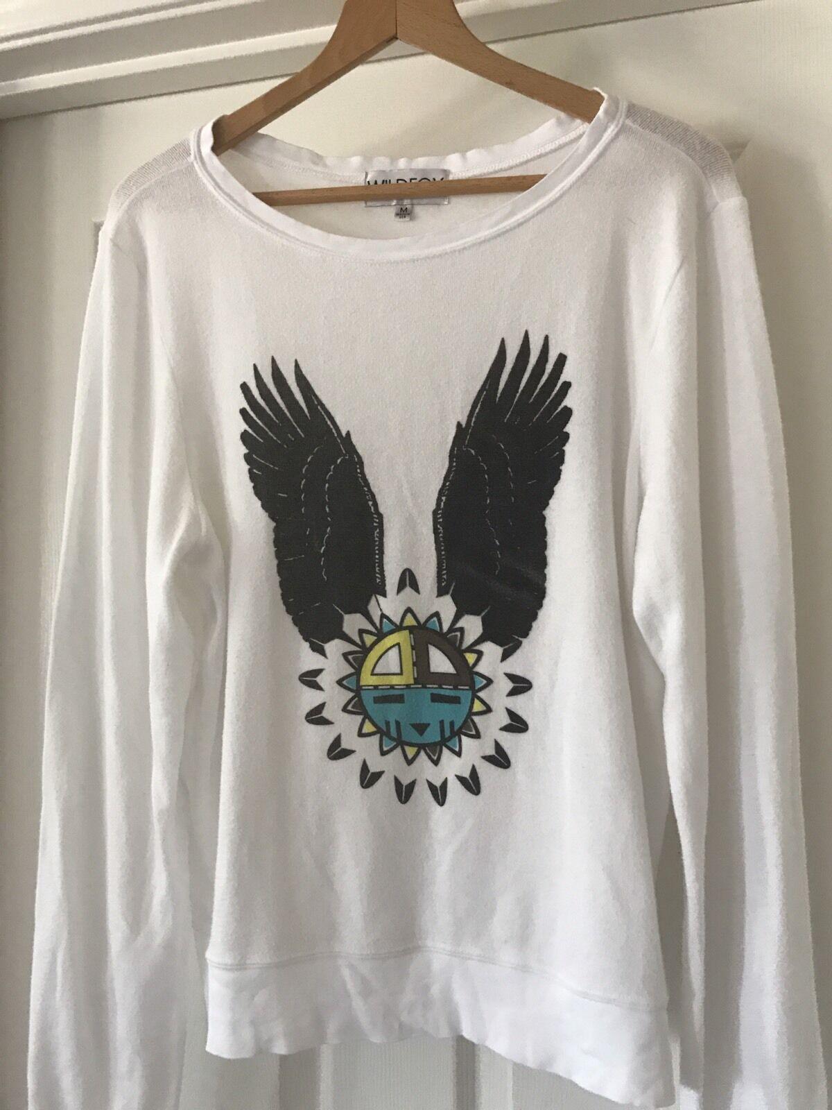 Wildfox  Eagle Dream  Baggy Beach Jumper Sweater Medium In Clean White