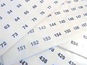 Pequeno-Blanco-13mm-Redondo-CONSECUTIVOS-SECUENCIALES-Numero-Etiquetas