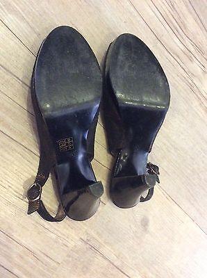 Anne Klein Negro Metálico Cuero Zapatos Size Uk 6.5