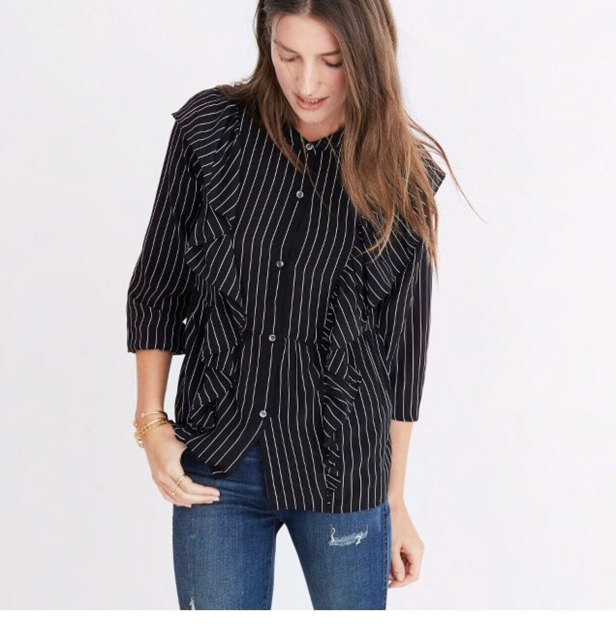 Madewell silk ruffle-front top , XL, schwarz, NEW