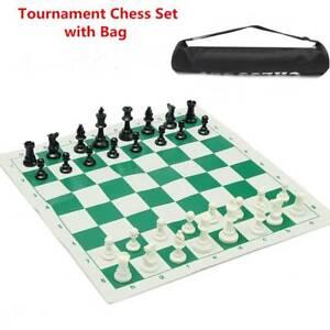 Plastic-Tournament-Chess-Set-Roll-up-Mat-Camping-Travel-Amusement-Gift-35x35cm
