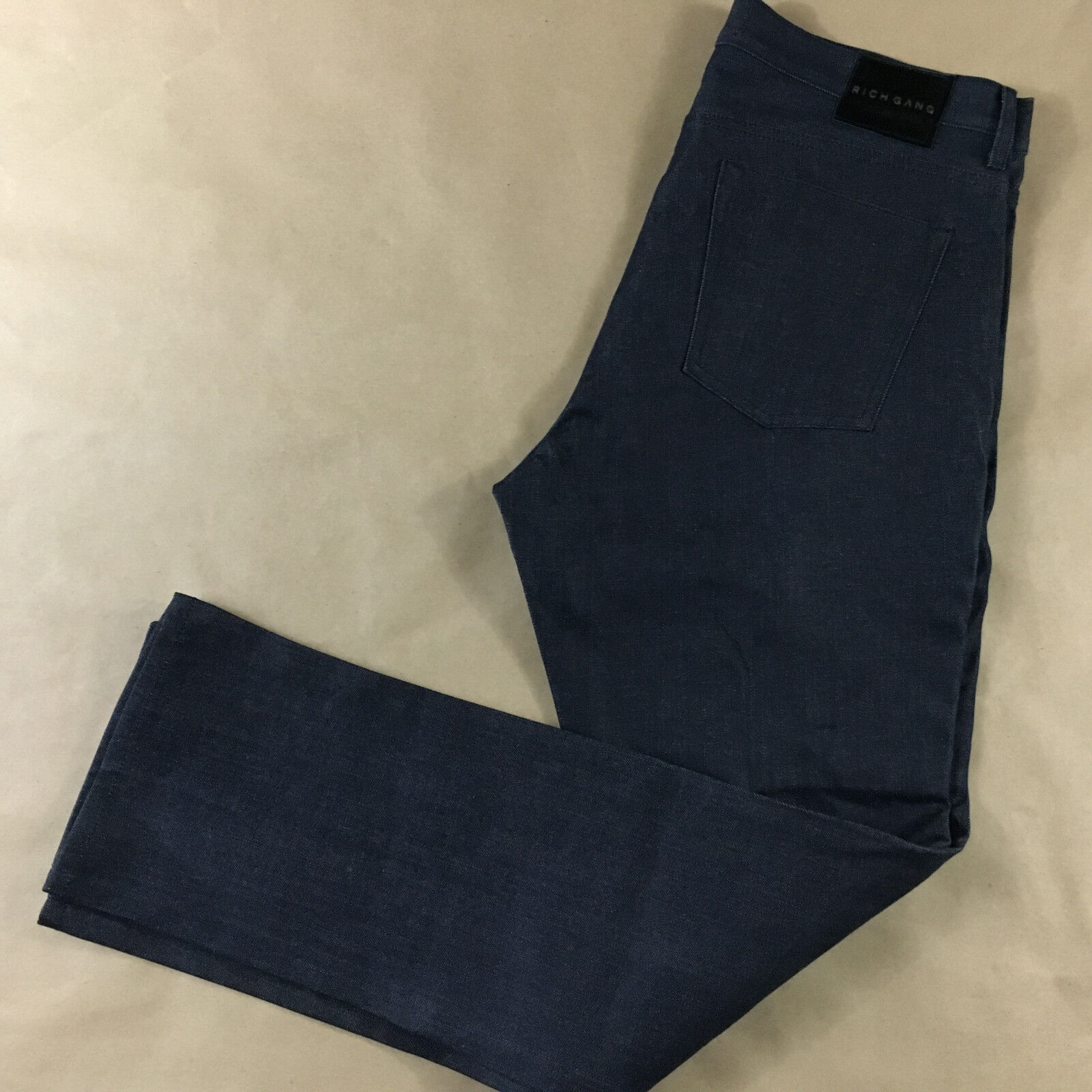Mens 38x35 RICH GANG NEW Quilted Raw bluee Denim Made USA Slim Straight Tag 38