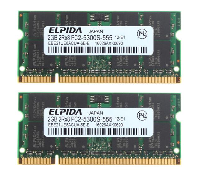 RAM 4 Go ELPIDA 2X 2 Go PC2-5300 DDR2 667 MHz 200PIN CL5 1.8 V SO-DIMM Ordinateur Portable Mémoire