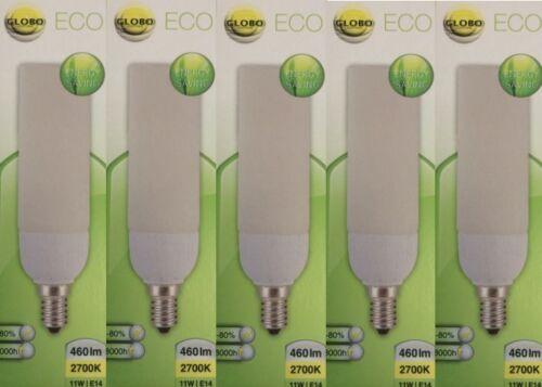 5x Globo Energiesparlampe E14 11W mit  Glas 10810 Warmweiß Restposten Neu