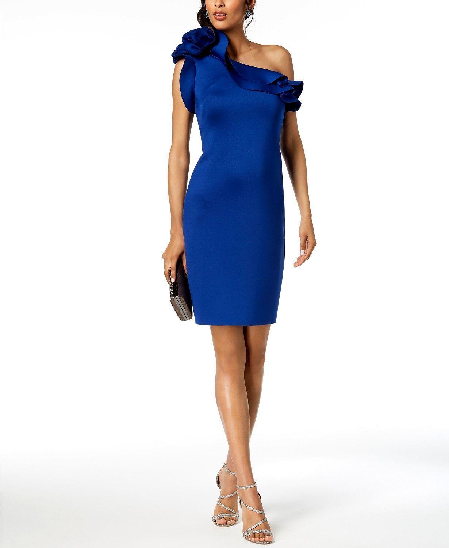 395 BETSY & ADAM WOMEN'S blueE RUFFLED ONE SHOULDER FLORAL SHEATH DRESS SIZE 6