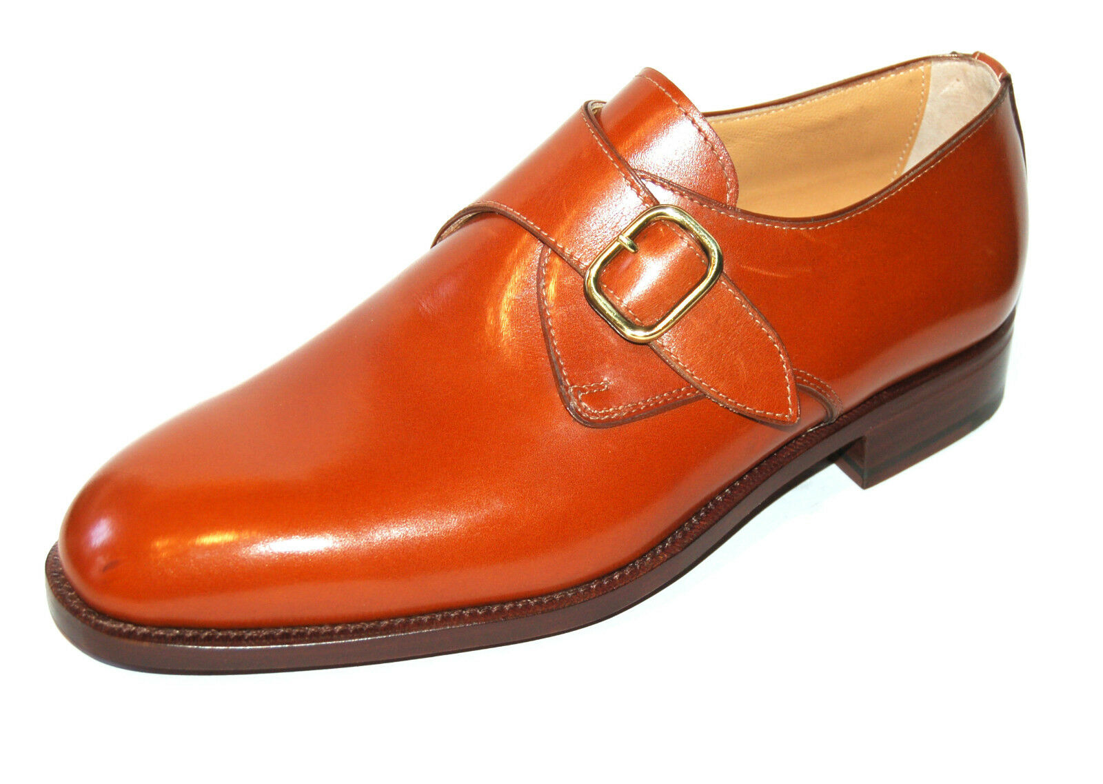 MAN SOLE BUCKLE DERBY - CALF 4000 TAN - LEATHER SOLE MAN + BLAKE CONSTRUCTION Scarpe classiche da uomo ce79b2