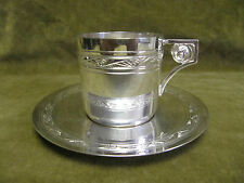 tasse à café métal argenté art deco roses (silverplate coffee cup)
