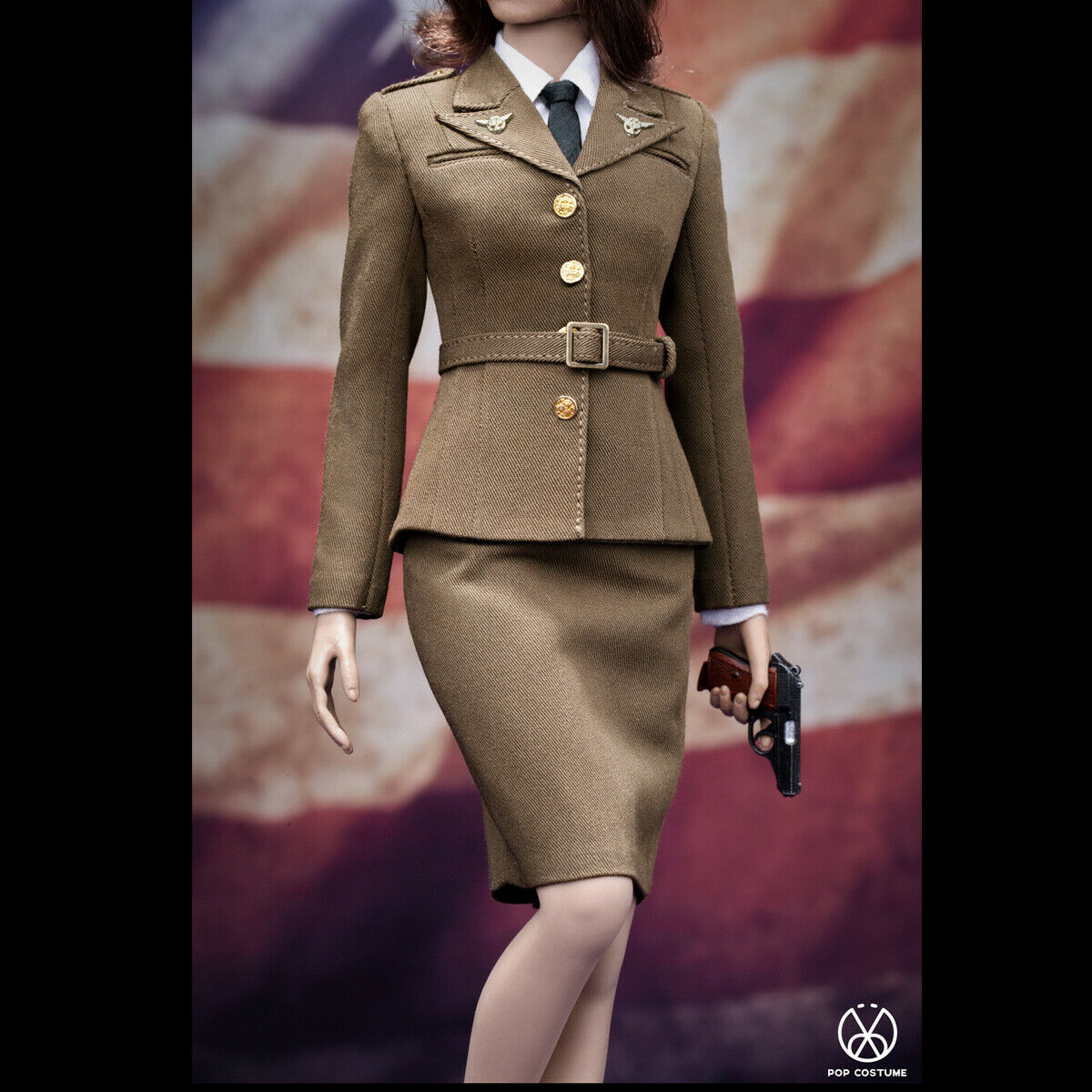 POPTOYS 1 6 X31 WWII US Army Female Agent Uniform Clothing Set Toys Collectible