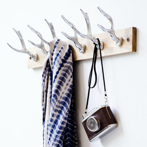 Garderobe Deer Silberfarben Garderobenleiste Hakenleiste Wandgarderobe 60,5 cm