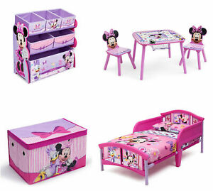 Details about Minnie Mouse Bedroom Furniture Set Girls Toddler Bed Room  Storage Table Chairs