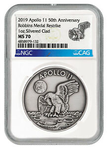 Apollo Historical Memorabilia 2019 Apollo 11 50th Robbins Medal 1 Oz Silver-pltd Antiqued Ngc Ms70 Sku55124