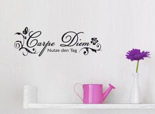 Nutze den Tag Wohnzimmer Schafzimmer Zitat Wandaufkleber WandTattoo Carpe Diem