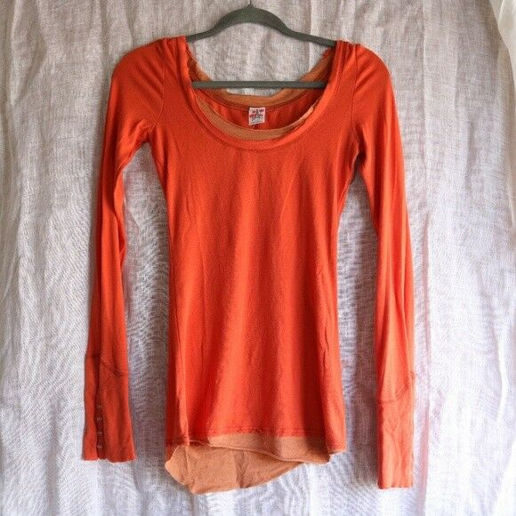Free People Orange Button Cuff Thermal Henley Shirt Top Tee S Rare