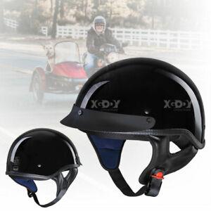 New Dot Unisex Motorcycle Half Helmet Skull Hat Cap Chopper Bobber Black XL US