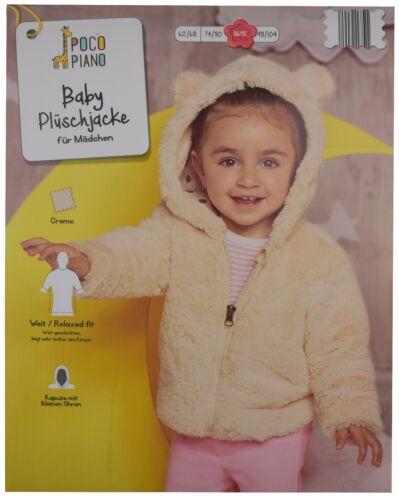 Baby Jacke Baby Plüschjacke Kapuze kuschelweich Creme 62//68 74//80  86//92 98//104