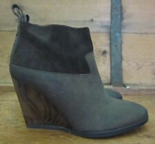 nwob $310 AllSaints LULU Wedge Ankle Zip Boot Chocolate Brown Leather 39 8.5 9